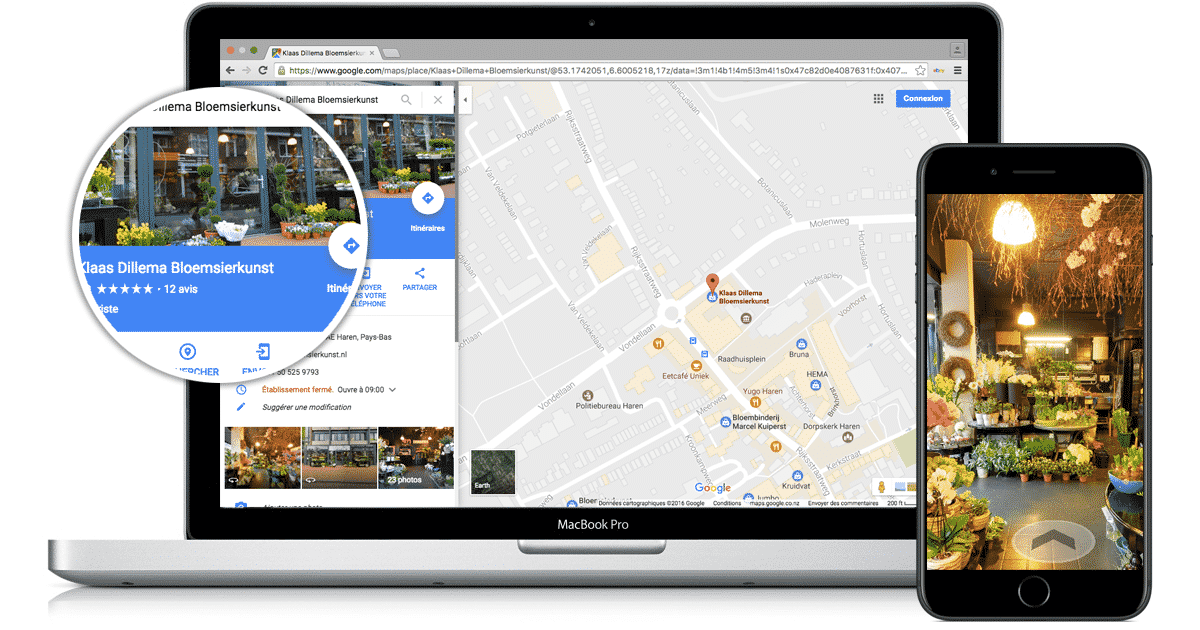 Desktop and mobile view of a virtual tour visible on Google maps